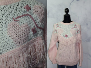 Rafferty Pink Sweater  with Fringes (M)