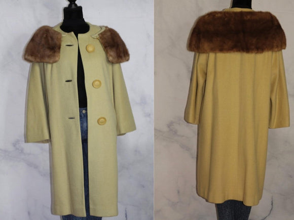 Wool Mint Green Trench Coat with Fur trim (M-L)