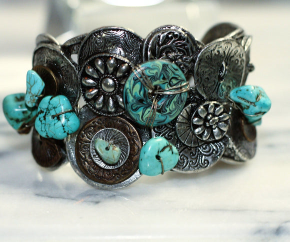 Chico Navajo Turquoise Sterling Silver Cuff  Bracelet