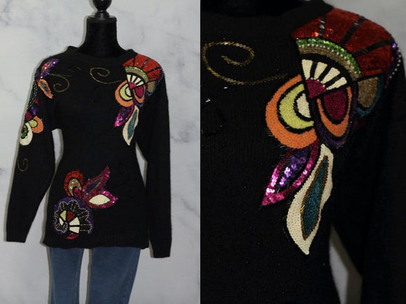Lisa Ashley Original Black Silk Wool Sequin Sweater (S)