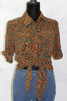 Brown & Green Leopard Print Top (S)