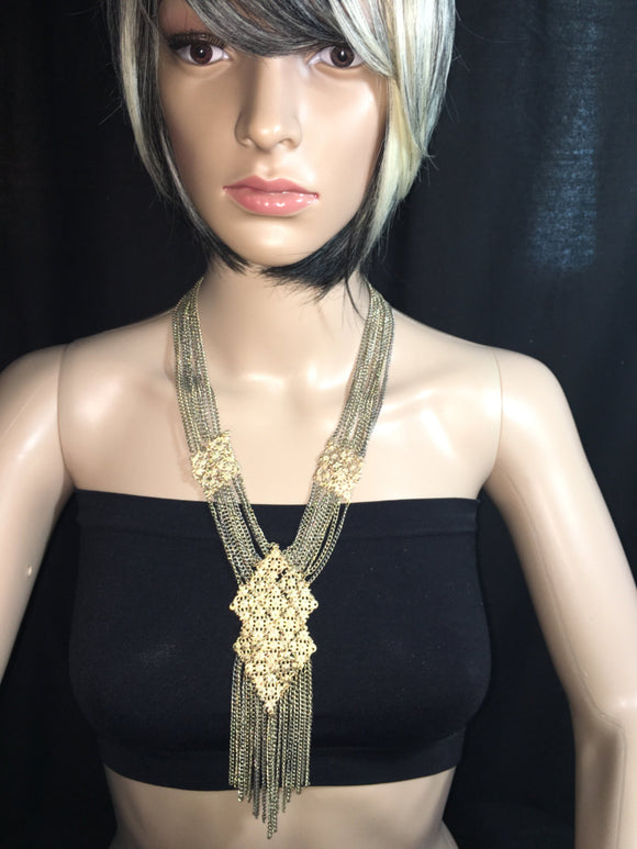 Silver & Gold Chandelier Necklace