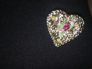 Vintage Heart Brooch Pendant. Free Shipping.