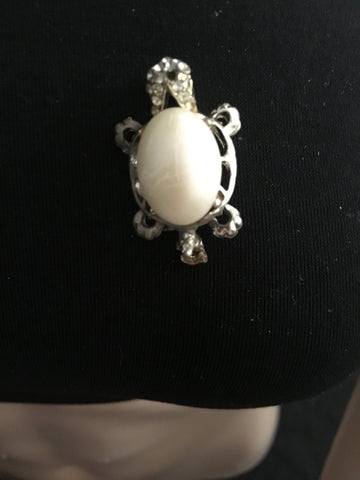 Vintage Pearl & Silver Turtle Brooch Pendant. Free Shipping.