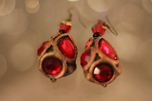 Vintage Gold Plated Amber Earrings. Free Shipping