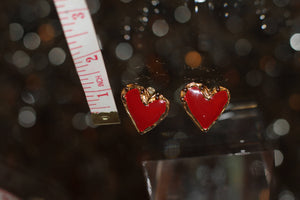 Vintage Gold Plated Heart Earrings. Free Shipping