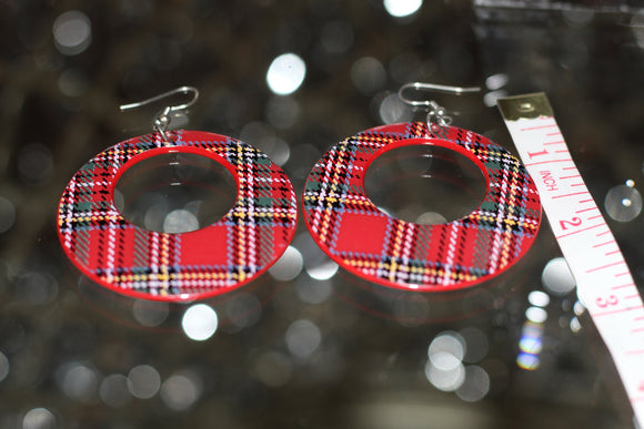 Vintage 90's Red Plaid Earrings