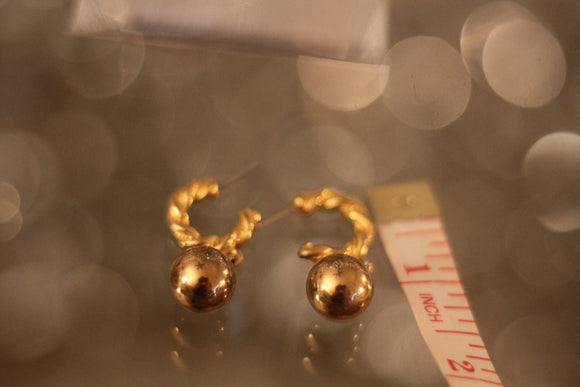 Gold Hoop Earrings with Gold Ball