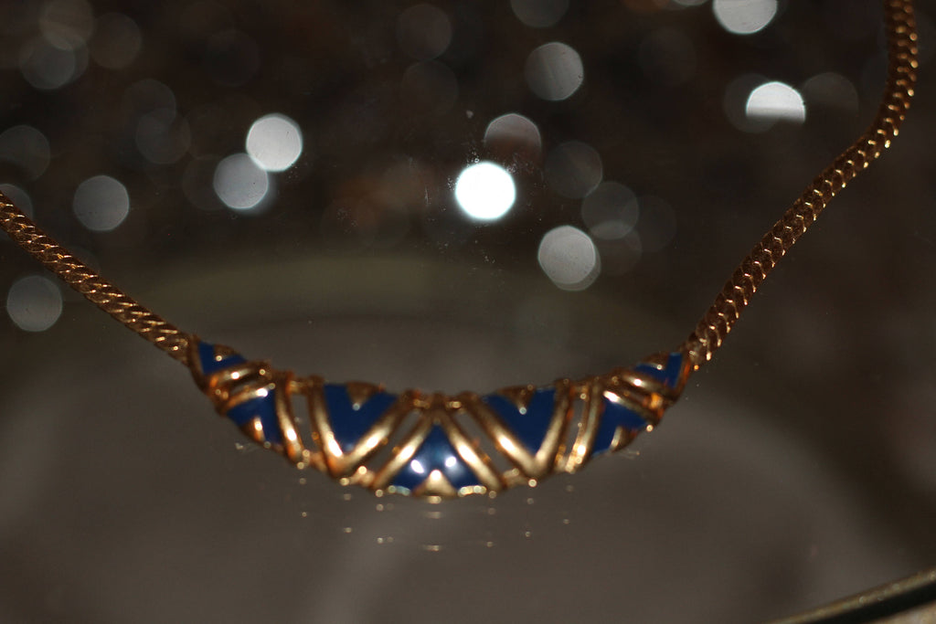Vintage 90's Gold Plated Herringbone Necklace with Blue Deisign