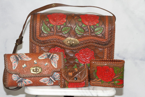 4pc Leather Handcrafted Handbag Set