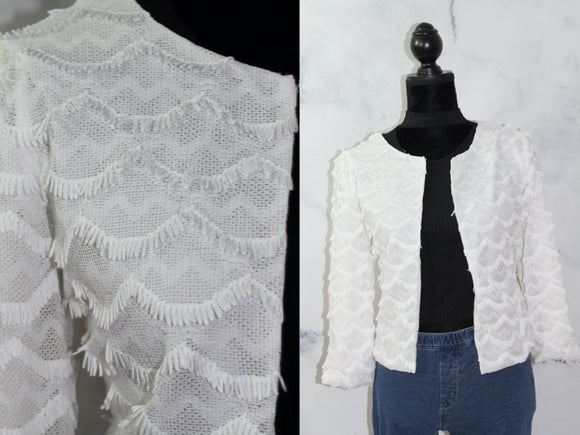 Handmade White Fringed Cardigan (M)