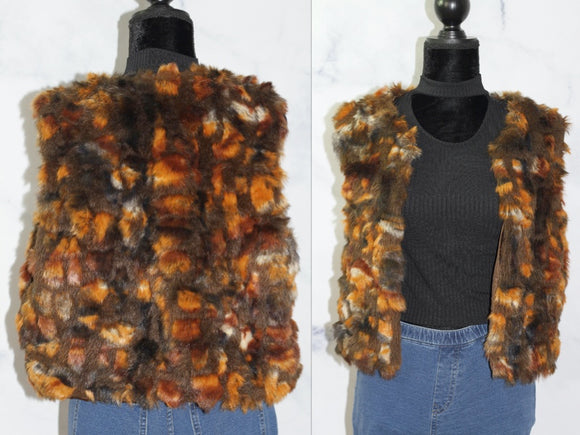 Multi Color Vegan Fur Vest (L)