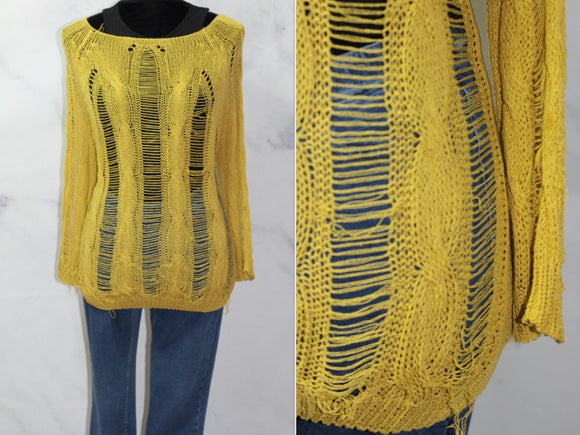 Yellow Fish Net Sweater (Small)