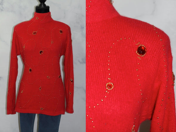 I.B. Diffusion Red Silk + Rabbit Sweater (M)