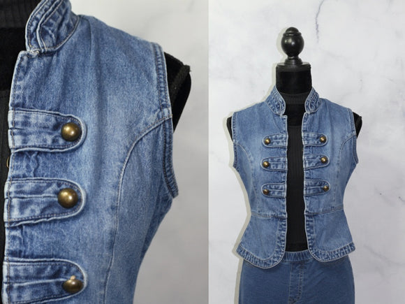 Blue Denim Jean Cotton Vest  (M)