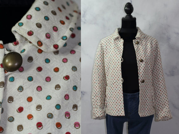 Karen Hart Cream Polka Dot Cotton Jacket (S)