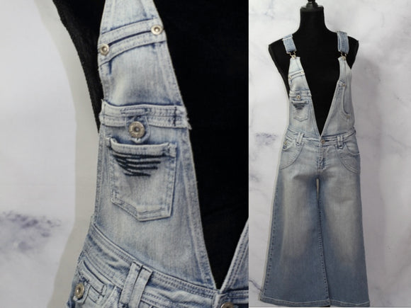 V-Cut Cotton Denim Jean Overalls (6)