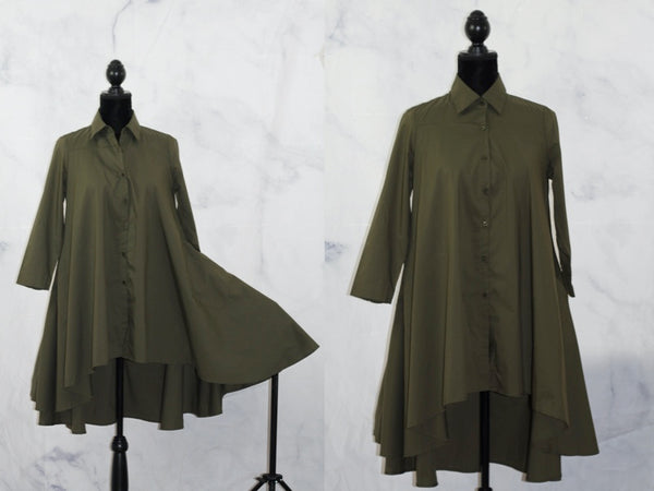Army Green Cotton  T- Shirt Dress (S)