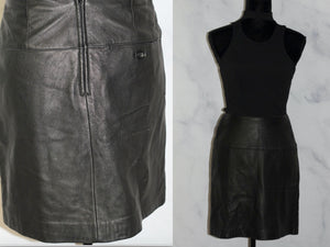 Lord & Taylor Mini Black Leather Skirt