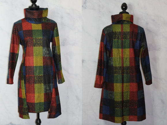Handmade Multi Color Plaid Patchwork Dress (S)