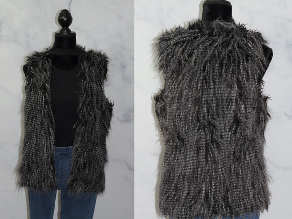 Black & Grey Faux Fur Vest (S-M)