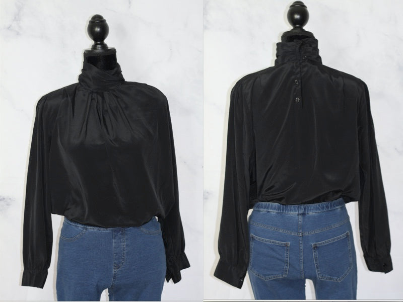 Illustrations Black Turtle Neck Top Button Down Back (12)