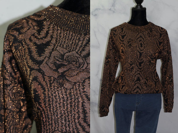 Gold & Brown Metallic  Sequence Handmade  Sweater (S-M)