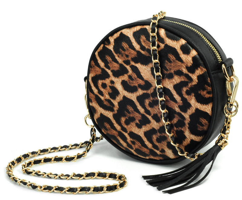 Round Crossbody Bag Snake Skin Pattern