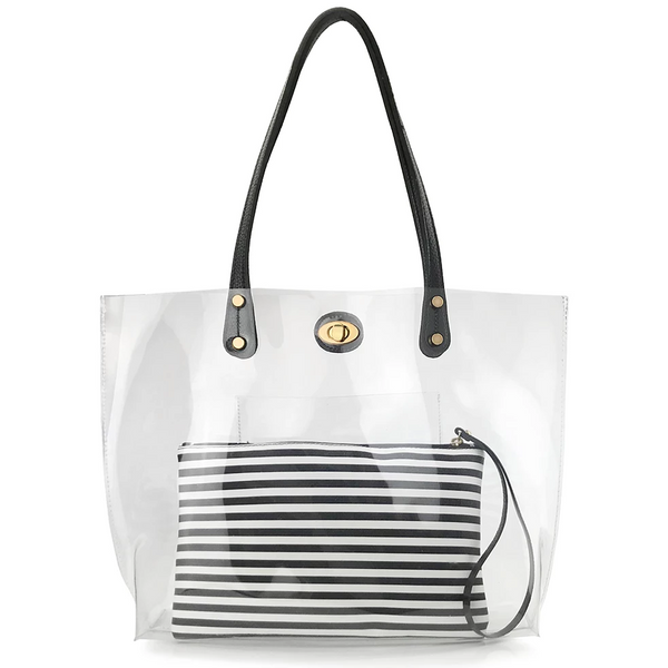 Turnlock Tote With Striped Pouch