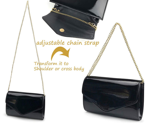 84b1b4c3f9 ... Glossy Envelope Evening Clutch Faux Patent Leather Women Chain Shoulder  Bag Solid Color Purse ...