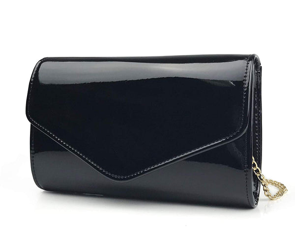 Glossy Envelope Evening Clutch Faux Patent Leather Women Chain Shoulder Bag Solid Color Purse - Hoxis Bags