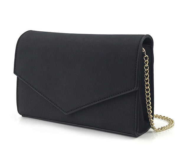 Minimalist Evening Envelope Clutch Chain Shoulder Bag Women Faux Leather Suede Purse - Hoxis Bags