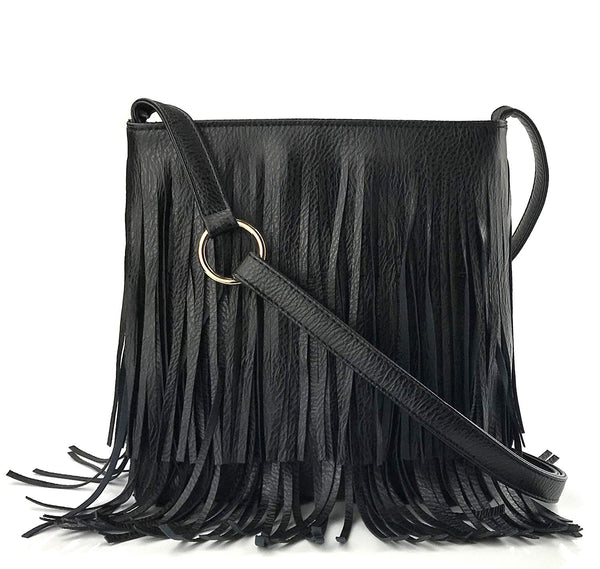 ec7e0996266 Glossy Fringe Cross Body Shoulder Bag Tassel Womens Purse