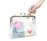Clear Transparent PVC Kiss Lock Chain Cross Body Bag Womens Clutch - Hoxis Bags
