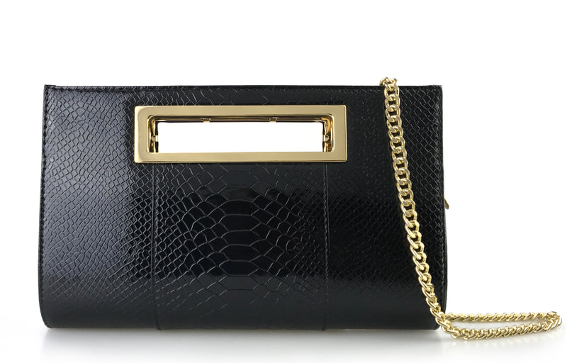 Classic Crocodile Pattern Faux Patent Leather Metal Grip Cut it out Clutch with Shoulder Strap - Hoxis Bags