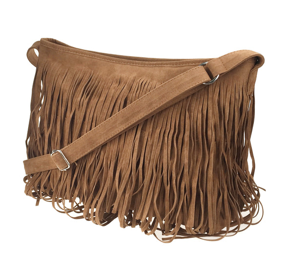 7e5a5e14cd60 Hoxis Tassel Faux Suede Leather Hobo Cross Body Shoulder Bag Womens Sling  Bag