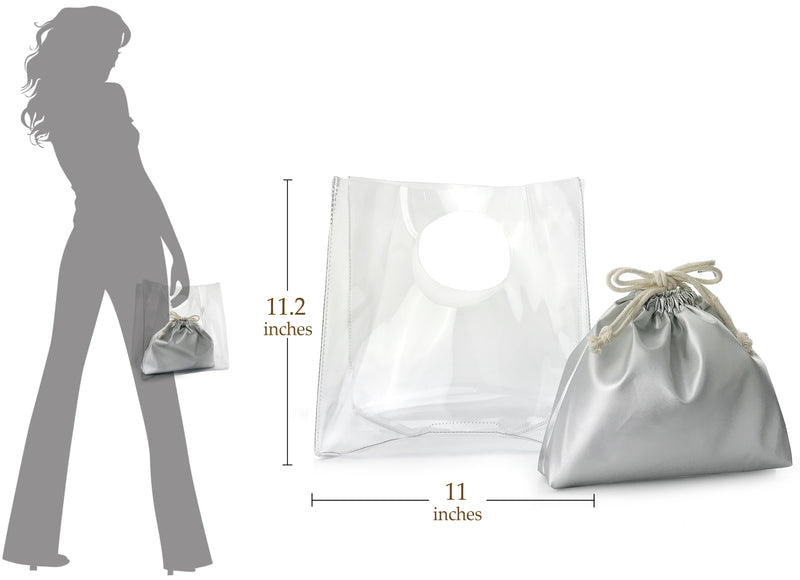 Minimalist Clear Handbag Womens Clutch with Drawstring Pouch - Hoxis Bags
