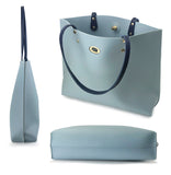Womens Tote Color-Block Pebbled Faux Leather Shoulder Handbag With Zipper Pocuh Wristlet - Hoxis Bags