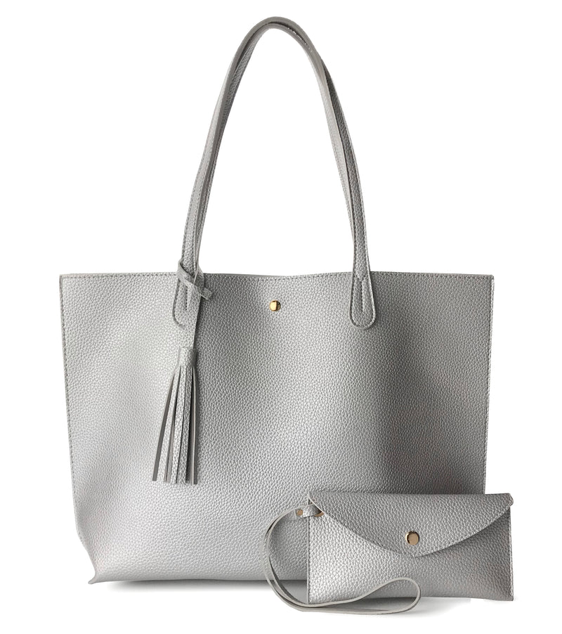 Minimalist Clean Cut Pebbled Faux Leather Tote Womens Shoulder Handbag - Hoxis Bags