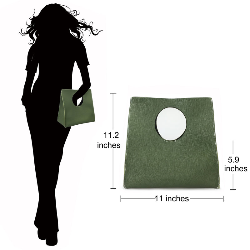 Vintage Minimalist Style Soft Pu Leather Handbag Clutch Small Tote - Hoxis Bags