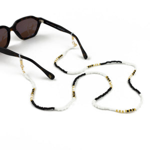 Sunglasses Chain / Black and White Beaded