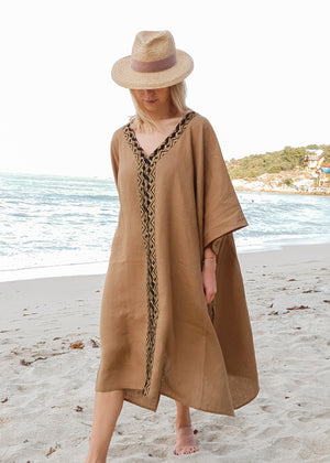 MYKONOS PONCHO / BROWN