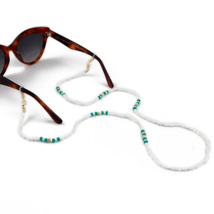 Sunglasses Chain / White and Turquoise Beaded