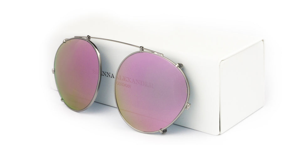 PINK MIRROR CLIP ON - Fashion Women's Sunglasses Sienna Alexander London