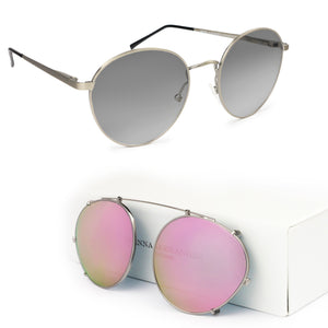 E1 SHOREDITCH / PINK MIRROR CLIP ON - Fashion Women's Sunglasses Sienna Alexander London