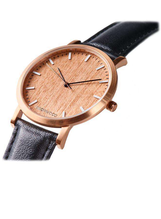 Watch - Cherry Wood Watch Graphite Black Leather Strap