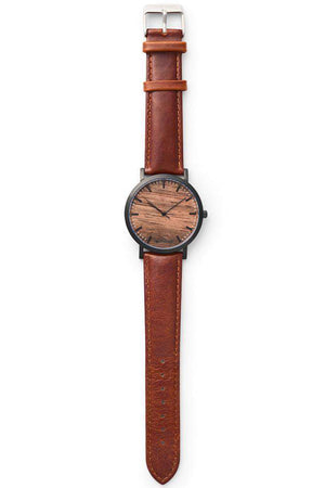 Watch - Sandalwood Swiss Quartz Watch Chestnut Leather Strap