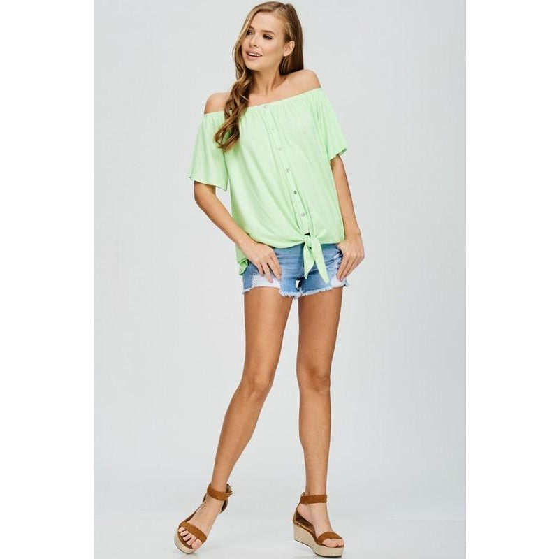 Neon Summer off the shoulder top