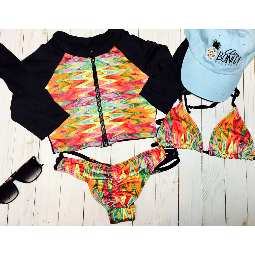 Multi colored Beach lover bikini set