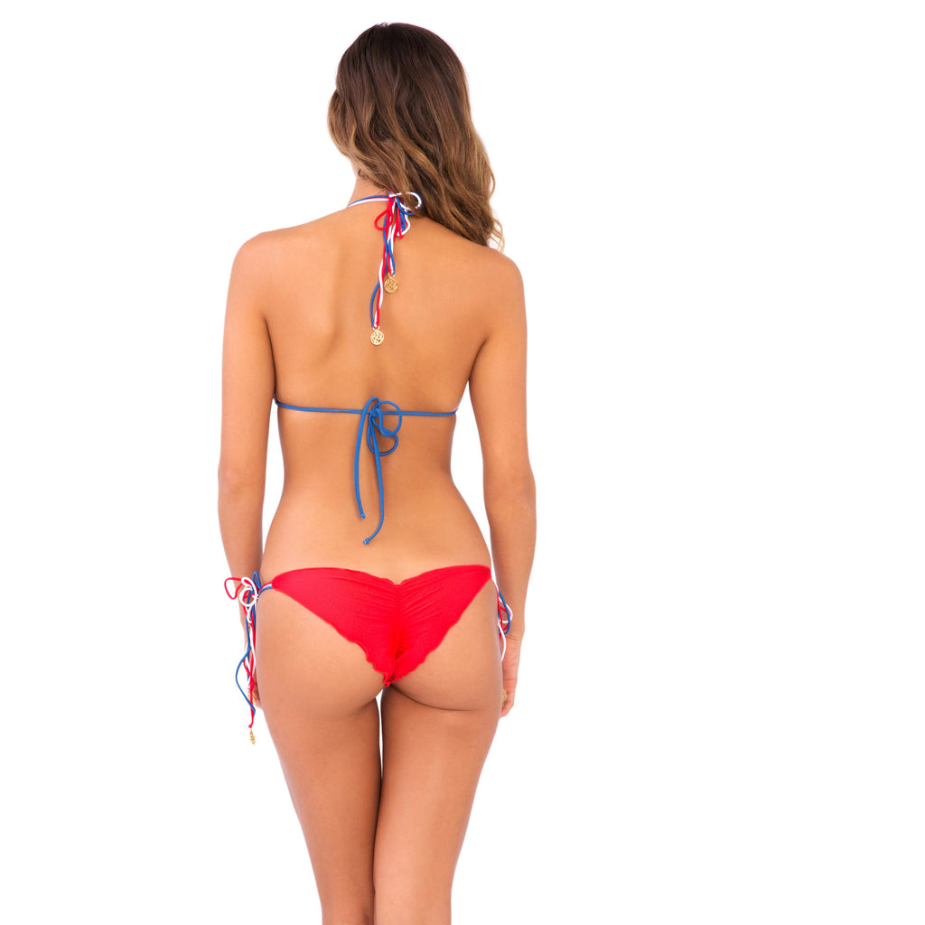 Luli Fama: American Dream/ Brazilian Ruched back tie side bottom